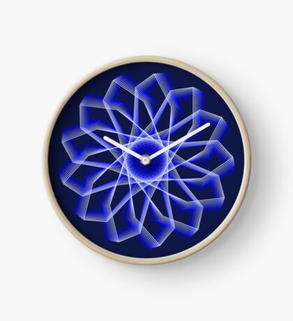 Blue Lines Abstract Flower Clock