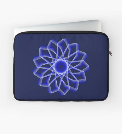Blue Lines Abstract Flower Laptop Sleeve