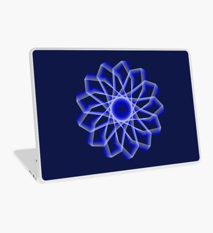 Blue Lines Abstract Flower Laptop Skin