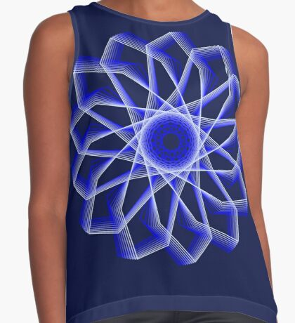 Blue Lines Abstract Flower Sleeveless Top