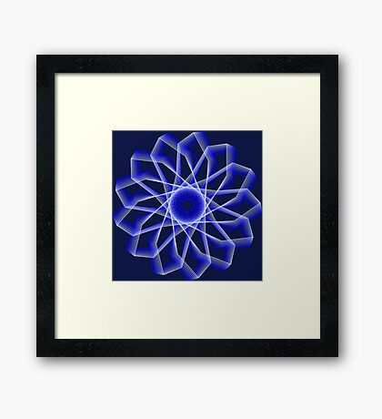Blue Lines Abstract Flower Framed Print