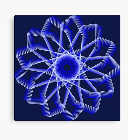 Blue Lines Abstract Flower Canvas Print