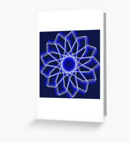Blue Lines Abstract Flower Greeting Card