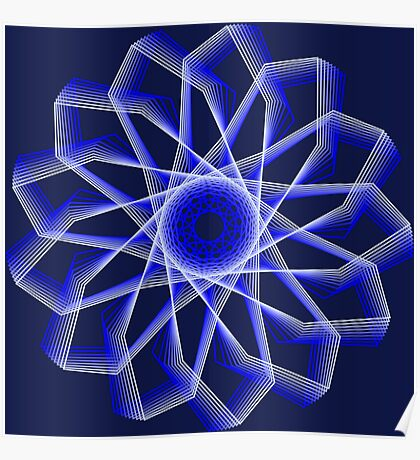 Blue Lines Abstract Flower Poster