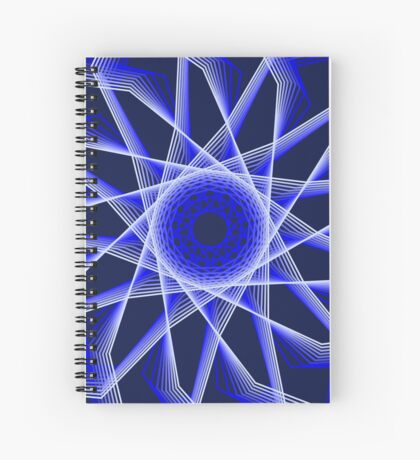 Blue Lines Abstract Flower Spiral Notebook