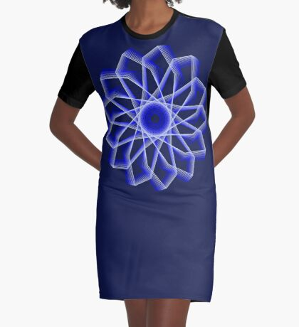 Blue Lines Abstract Flower Graphic T-Shirt Dress