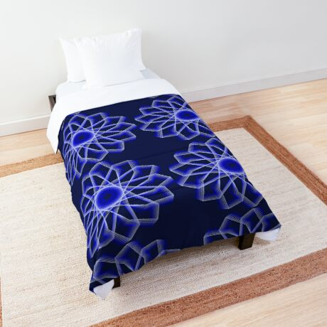 Blue Lines Abstract Flower Comforter