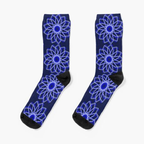 Blue Lines Abstract Flower Socks
