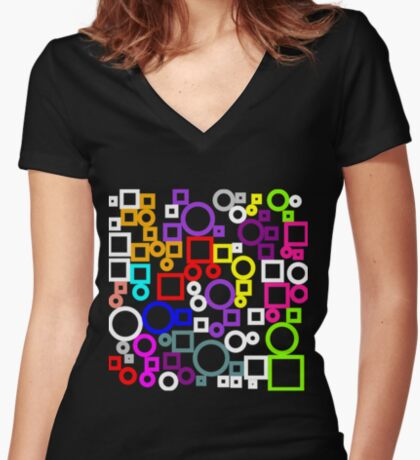 Happy Circles and Squares Fitted V-Neck T-Shirt