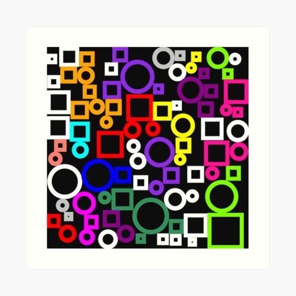 Happy Circles and Squares Art Print