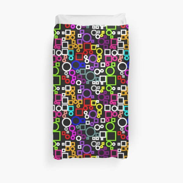 Happy Circles and Squares Duvet Cover