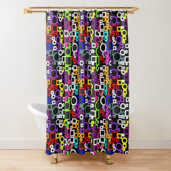 Happy Circles and Squares Shower Curtain