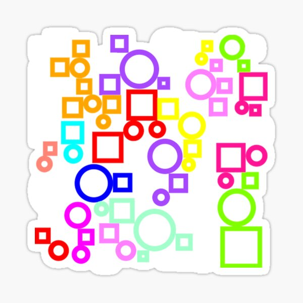 Happy Circles and Squares Sticker