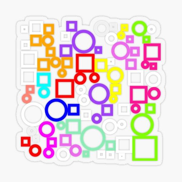 Happy Circles and Squares Transparent Sticker
