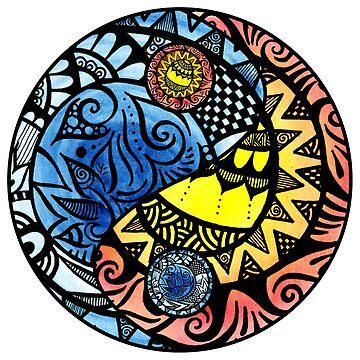 Yin Yang Fire and Ice Tangle by Wealie