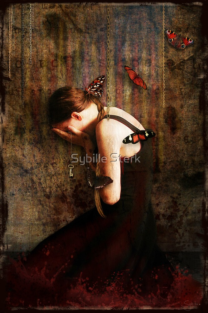 Girl with Red Butterflies by Sybille Sterk