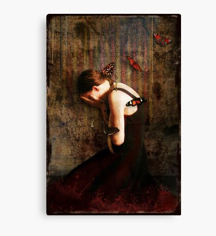 Girl with Red Butterflies Canvas Print