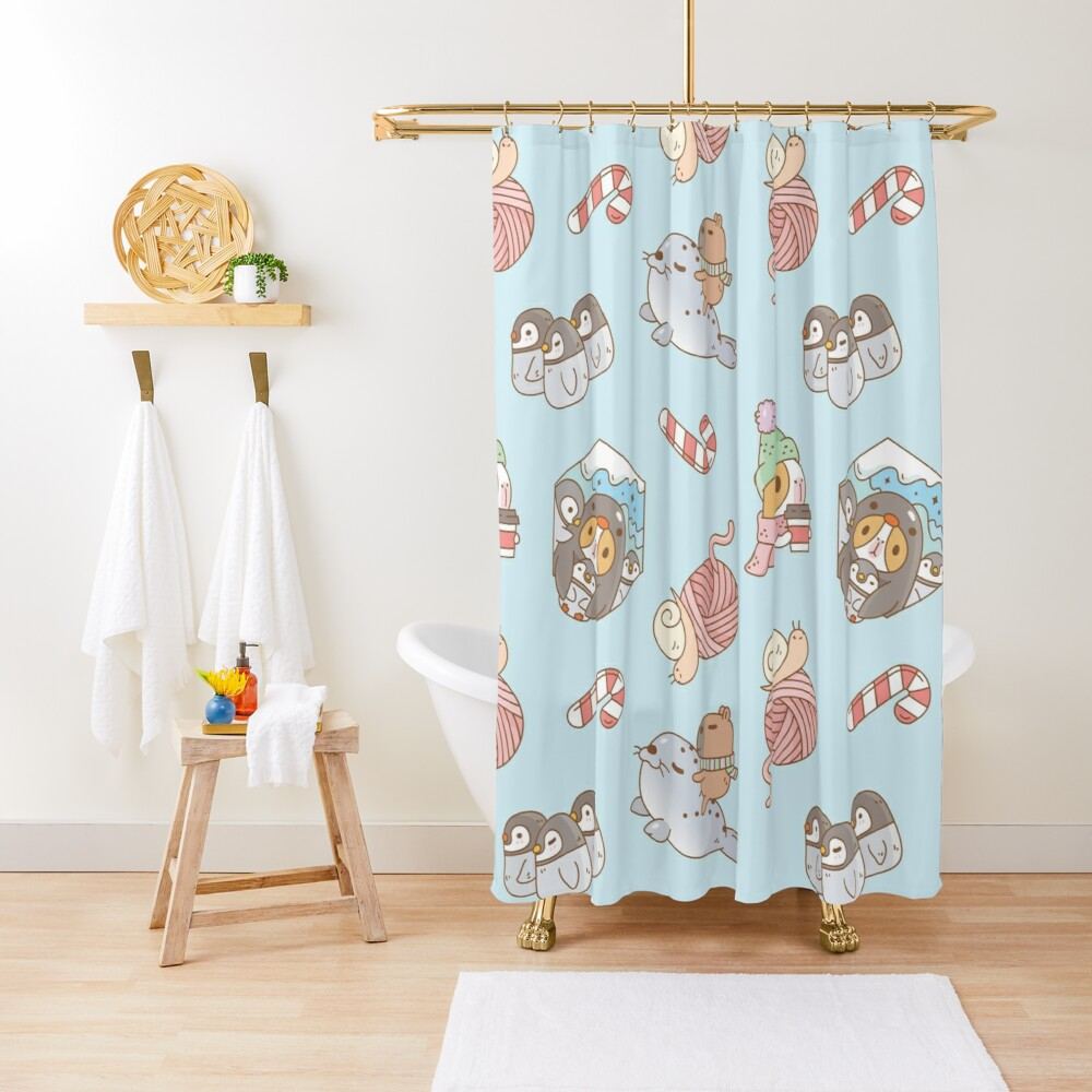 Bubu the Guinea pig, South Pole Holiday  Shower Curtain
