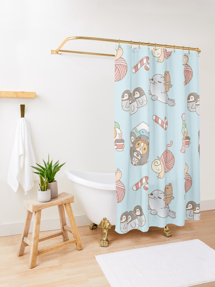 Alternate view of Bubu the Guinea pig, South Pole Holiday  Shower Curtain