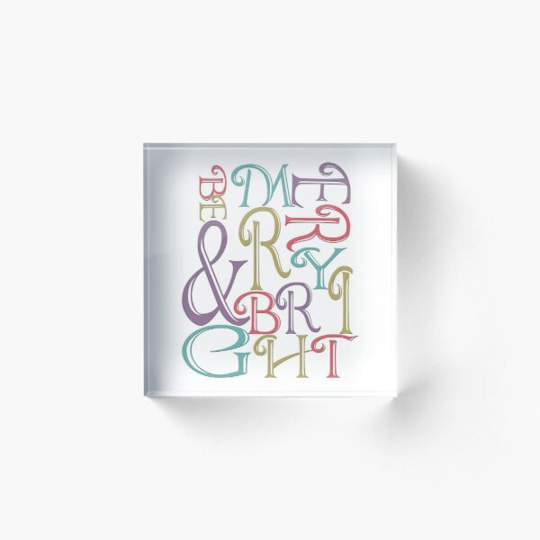 Modern Typography Merry and Bright  Acrylic Block