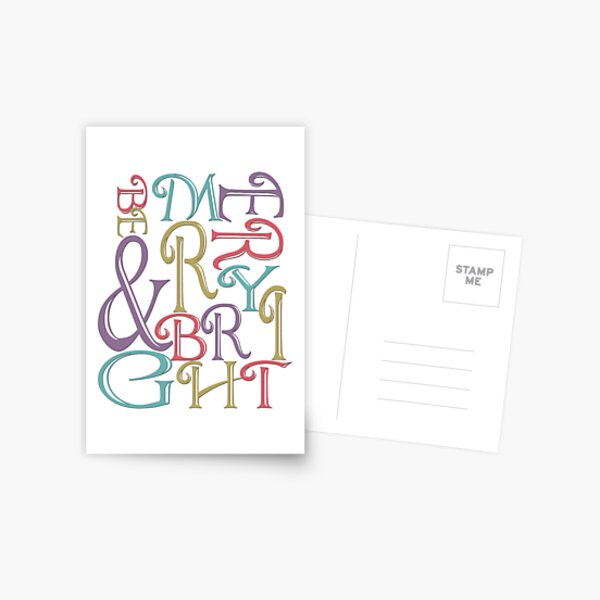 Modern Typography Merry and Bright  Postcard