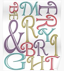 Modern Typography Merry and Bright  Poster