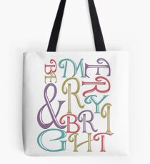 Modern Typography Merry and Bright  Tote Bag