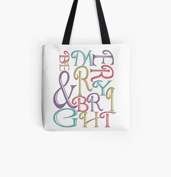 Modern Typography Merry and Bright  All Over Print Tote Bag