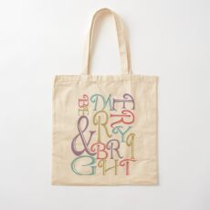 Modern Typography Merry and Bright  Cotton Tote Bag