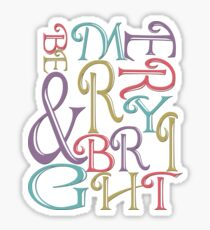 Modern Typography Merry and Bright  Glossy Sticker