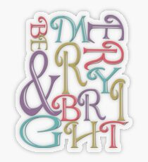 Modern Typography Merry and Bright  Transparent Sticker