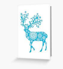 Turquoise blue Christmas deer Greeting Card