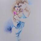 """""""Geschenkte Rose"""" Pastel Pencil Artwork by Sara Moon"""