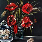 Red Poppies and eggs by atelier1