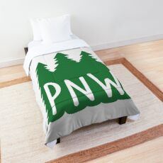 PNW Evergreen Pine Trees Comforter