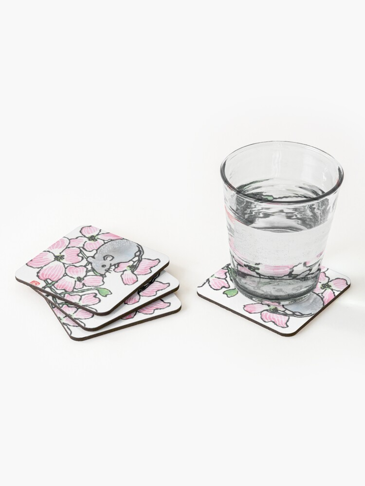 Alternate view of Dogwood blossoms and mouse Coasters (Set of 4)