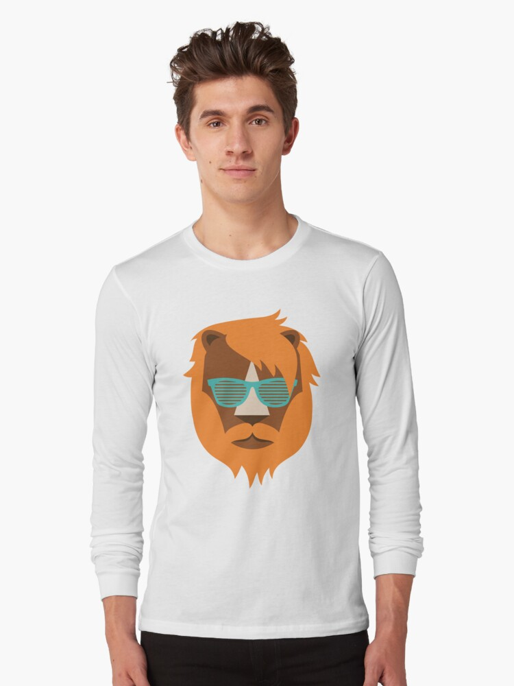 Cute Lion Hipster Animal With Funky Glasses Long Sleeve T-Shirt Front