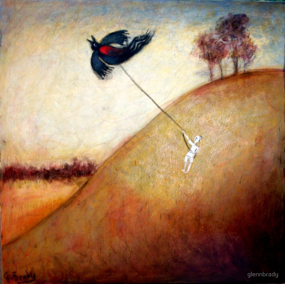 boy with black bird kite by glennbrady