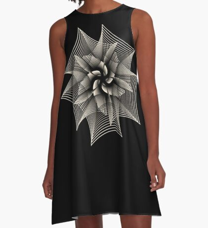 Abstract Monochrome Flower A-Line Dress