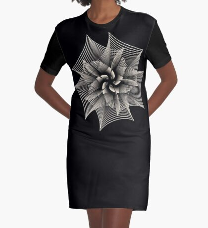 Abstract Monochrome Flower Graphic T-Shirt Dress