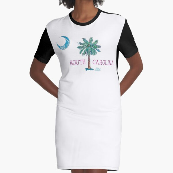 South Carolina Palmetto Tree and Moon by Jan Marvin Graphic T-Shirt Dress