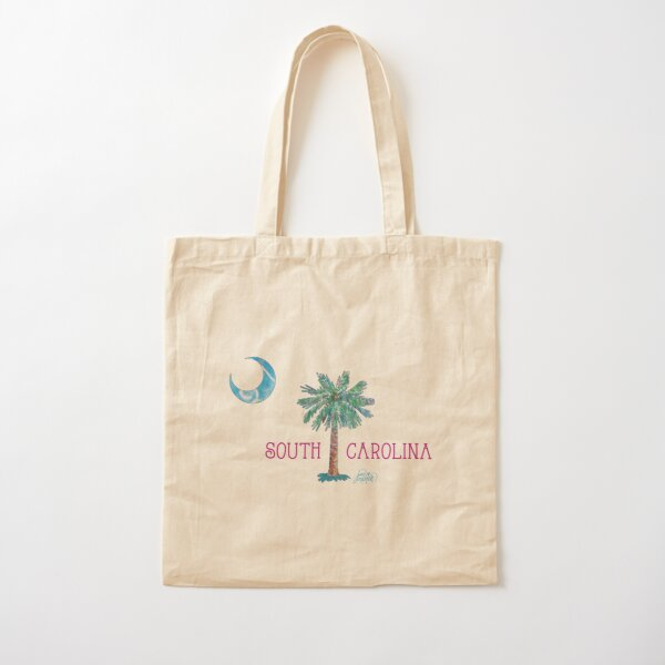 South Carolina Palmetto Tree and Moon by Jan Marvin Cotton Tote Bag