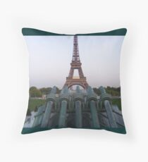 Cannons about to shoot Eiffel Tower Throw Pillow