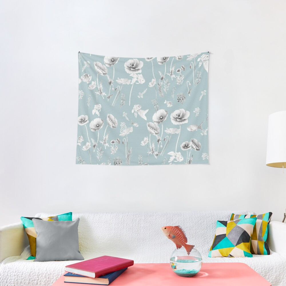 Fishes & Garden-Powder Blue Tapestry