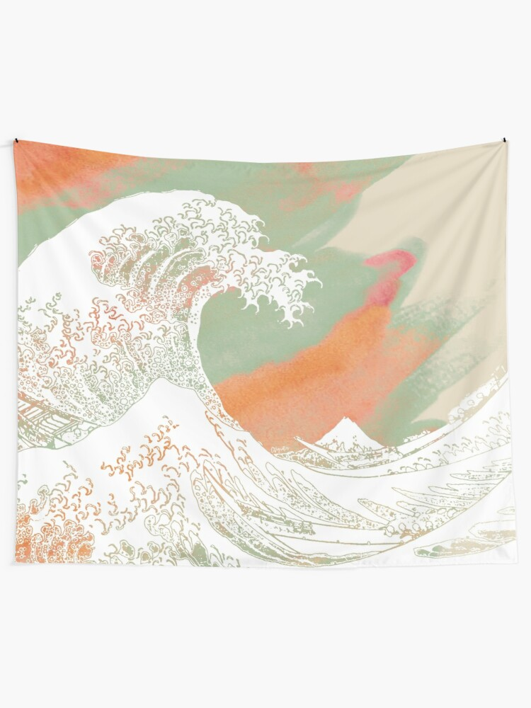 Alternate view of Calm into Great Wave Paint  I Tapestry