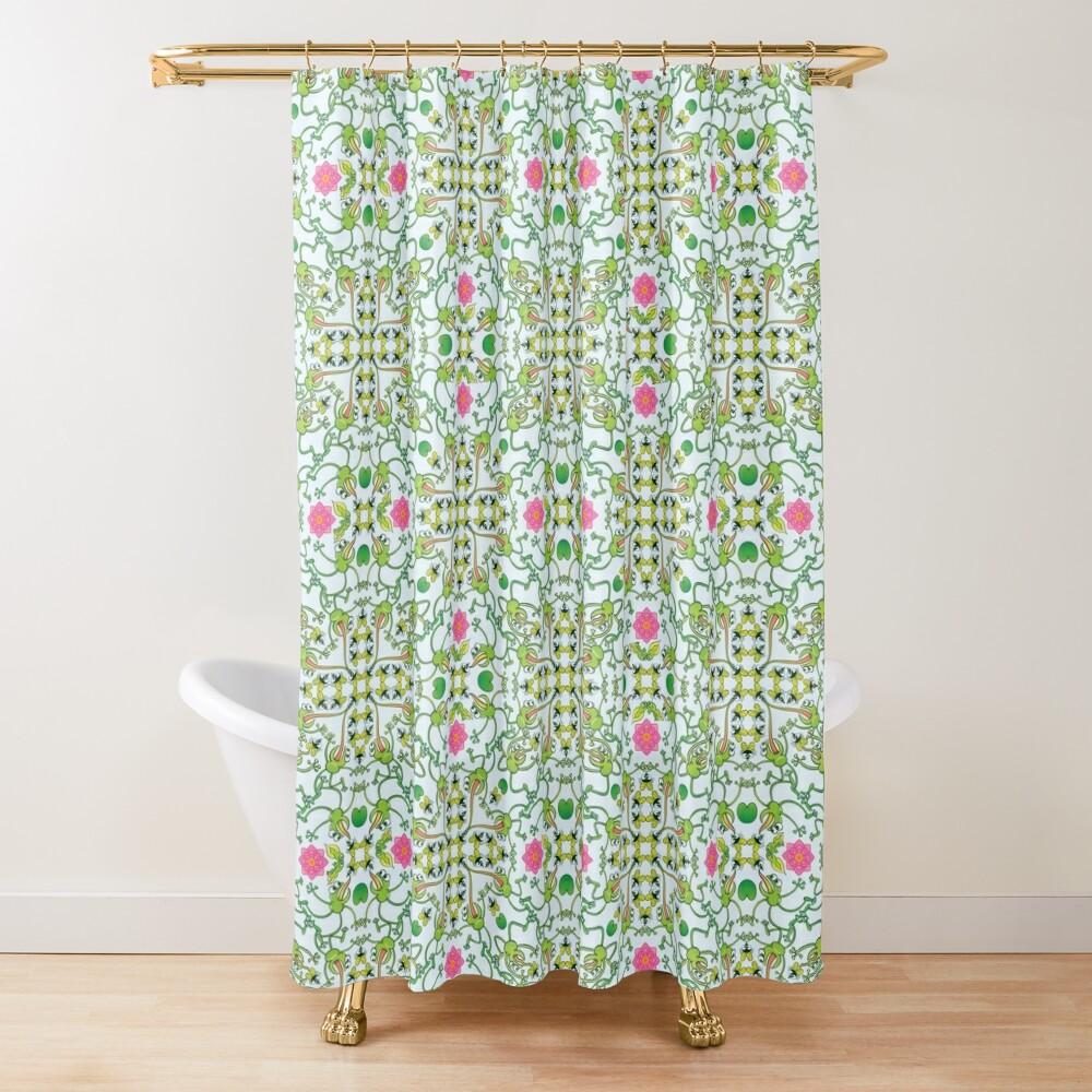 Funny green frogs hunting flies mandala design Shower Curtain
