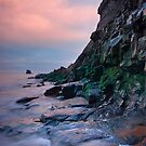 Saltwick Cliff by evening light by Phillip Dove
