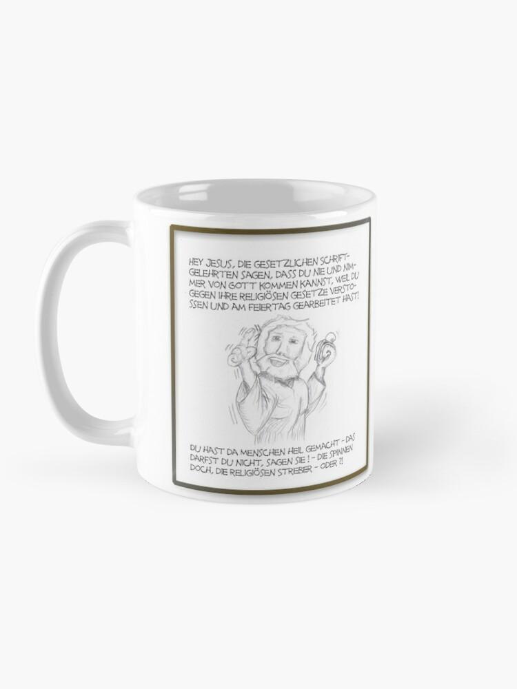 Alternative Ansicht von Petrus trifft Jesus - Cartoon-Design - Die spinnen die religösen Streber ! Tasse