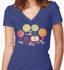 Fruity Hot Air Balloons  Fitted V-Neck T-Shirt