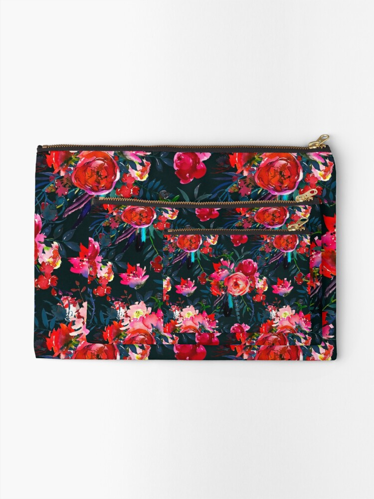 Alternate view of Neon pink fuschia black watercolor modern floral Zipper Pouch